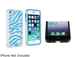 Insten Baby Blue Skin/White Zebra Hard Hybrid Case with Clear Docking Port Cap Compatible with Apple iPhone 5 / 5S 1475575