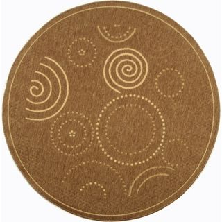 Safavieh Indoor/ Outdoor Courtyard Brown/ Natural Rug (710 Round