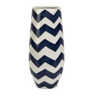 Home Decorators Collection Chrevron Navy/White Short Vase 1951410320