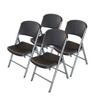 Lifetime Classic Black Commercial Folding Chair, Silver Frame    4 pk.