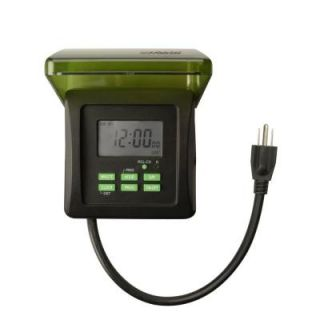 Woods 7 Day Digital Outdoor Heavy Duty Timer 2 Outlet   Black 50015