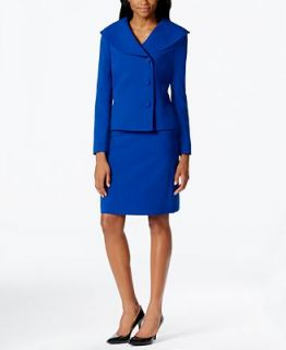 Tahari ASL Petite Asymmetrical Three Button Skirt Suit   Wear to Work