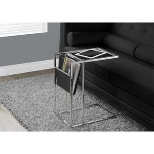 Monarch Specialties ACCENT TABLE   BLACK / CHROME METAL WITH A