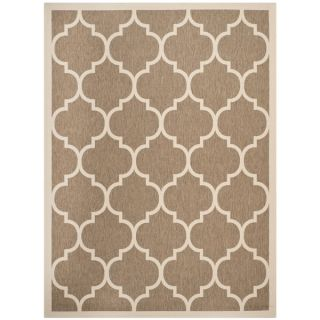 Safavieh Indoor/ Outdoor Contemporary Courtyard Brown/ Bone Rug (67 x