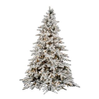 Flocked Utica 7.5 x 65 Fir Tree with Dura Lit Lights   17674336