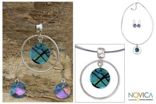 Sterling Silver Hypnotic Blues Dichroic Glass Jewelry Set (Mexico