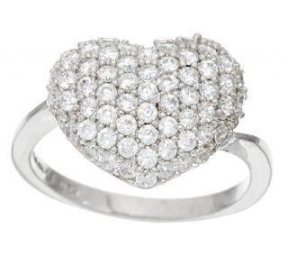 Diamonique 7/10cttw Pave Heart Ring, Sterling —