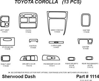 1999 2002 Toyota Corolla Wood Dash Kits   Sherwood Innovations 1114 CF   Sherwood Innovations Dash Kits
