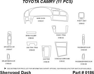 1994, 1995, 1996 Toyota Camry Wood Dash Kits   Sherwood Innovations 0186 N50   Sherwood Innovations Dash Kits