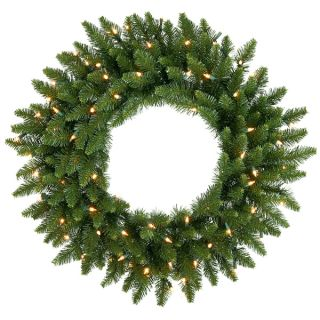 30 inch Camdon Fir Wreath Dura Lit with 50 Clear Lights   16785982