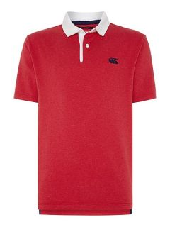 Canterbury Short Sleeve Stripe Rugby Polo Shirt Red