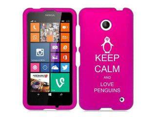 Nokia Lumia 630 635 Snap On 2 Piece Rubber Hard Case Cover Keep Calm and Love Penguins (Hot Pink)