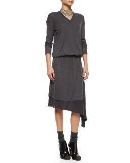 Brunello Cucinelli Asymmetric Underlay Knit Dress