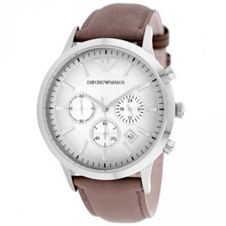 Emporio Armani Mens AR2471 Classic Chronograph Brown Leather Watch