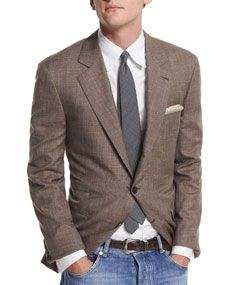 Brunello Cucinelli Flamed Wool Blend Sport Coat, Brown