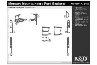 2000, 2001 Ford Explorer Wood Dash Kits   B&I WD326F DCF   B&I Dash Kits