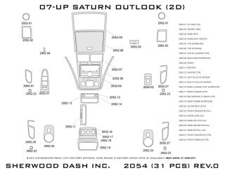 2007, 2008 Saturn Outlook Wood Dash Kits   Sherwood Innovations 2054 N50   Sherwood Innovations Dash Kits