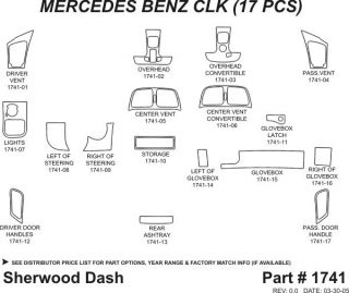1998 2001 Mercedes Benz CLK Class Wood Dash Kits   Sherwood Innovations 1741 N50   Sherwood Innovations Dash Kits