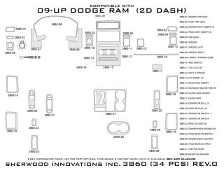 2009 2012 Dodge Ram Wood Dash Kits   Sherwood Innovations 3860 CF   Sherwood Innovations Dash Kits