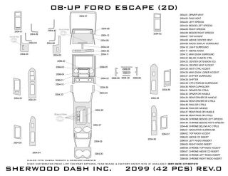 2008 2012 Ford Escape Wood Dash Kits   Sherwood Innovations 2099 CF   Sherwood Innovations Dash Kits