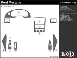 2001 2004 Ford Mustang Wood Dash Kits   B&I WD019B DCF   B&I Dash Kits