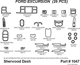 2000, 2001, 2002 Ford Excursion Wood Dash Kits   Sherwood Innovations 1047 CF   Sherwood Innovations Dash Kits