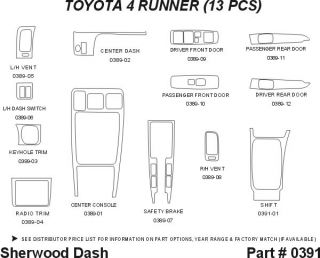 1996, 1997 Toyota 4Runner Wood Dash Kits   Sherwood Innovations 0391 DA   Sherwood Innovations Dash Kits