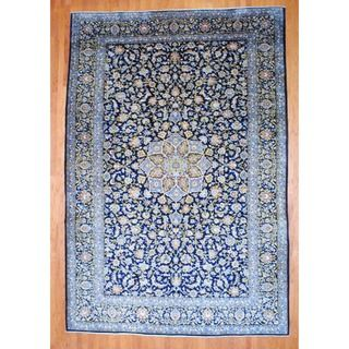 Persian Hand knotted Isfahan Navy/ Light Blue Wool Rug (99 x 146)