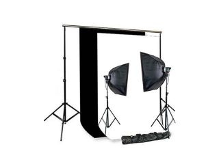 CowboyStudio 220 Watt Photography Studio Monolight Flash Lighting Kit   2 Studio Flash/Strobe, 2 Softboxes, 1 Background Support System, 6'x9' Black & White Muslin Backdrops and Carry Case