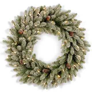 Snowy Concolor Fir Pre Lit Wreath with 100 Clear Lights by National