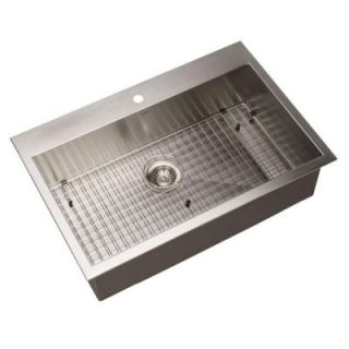 HOUZER Bellus Series Zero Radius Top Mount Stainless Steel 33 in. 1 Hole Single Bowl Lavatory Sink BLS 3322