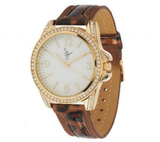 Susan Graver Animal Print Strap Watch with Crystal Accents —