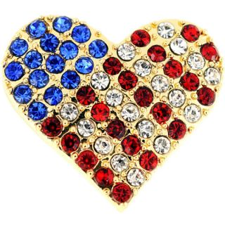 Goldplated Metal Cubic Zirconia American Flag Heart Pin Brooch