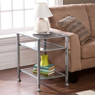 Southern Enterprises Dina Metal/Glass End Table   Silver   7618387