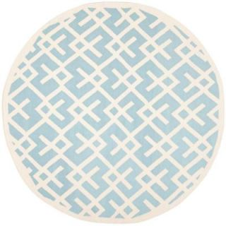 Safavieh Dhurries Light Blue/Ivory 8 ft. Round Area Rug DHU552B 8R
