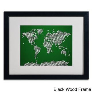Michael Tompsett Soccer Balls World Map Framed Matted Art   15511319