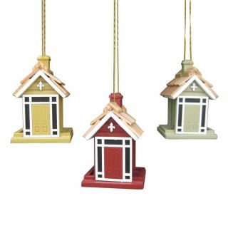 Home Bazaar 3 Pack Assorted Gold/Red/Green Wood Shatterproof Bird House Ornaments