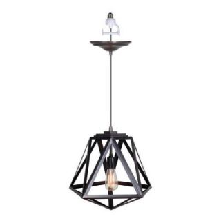Worth Home Products 1 Light Brushed Bronze Instant Pendant Conversion Kit with Cage Shade PKN 8911