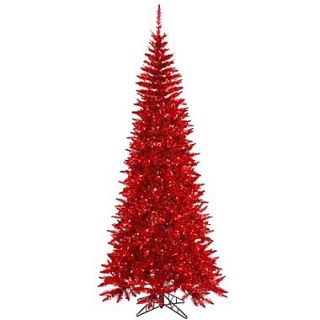 Vickerman 5.5 Tinsel Red Slim Fir Artificial Christmas Tree with 300 Mini Lights