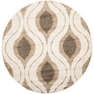 Safavieh Florida Shag Cream/Smoke 6 ft. 7 in. x 6 ft. 7 in. Round Area Rug SG461 1179 7R