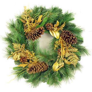 24 Glittered Mixed Pine Artificial Christmas Wreath