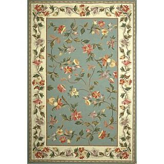KAS Rugs Colonial Slate Blue / Ivory Floral Area Rug; 8 x 106