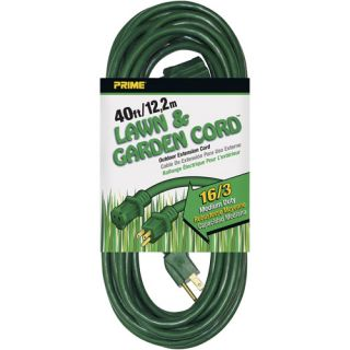 Prime Wire 40 Foot 16/3 SJTW Lawn and Garden Outdoor Extension Cord, Green