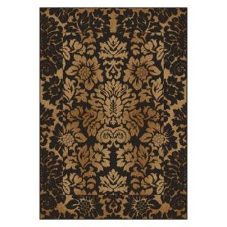 Radici Usa Como Area Rugs   1717 Transitional Casual Brown/Gold Italian Flowers Bordered Persian Rug