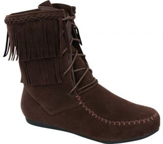 Womens Wild Diva Candice 22 Fringe Boot   Brown Faux Suede
