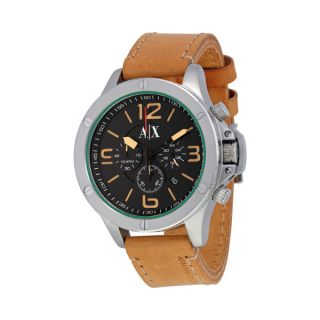 Emporio Armani Mens Chronograph Brown Embossed Leather Strap Watch