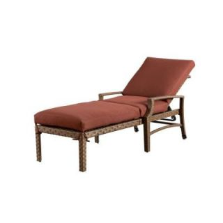 Hampton Bay Tobago Patio Chaise Lounge with Burgundy Cushions 151 101 CL