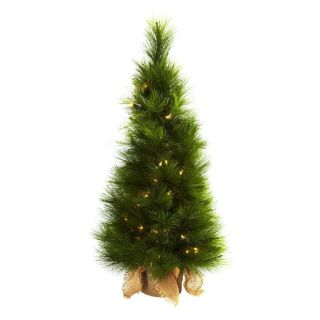 Nearly Natural 3 ft Pre Lit Slim Artificial Christmas Tree with White Clear Incandescent Lights