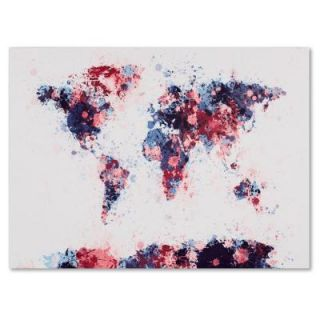 "22 in. x 32 in. ""Paint Splashes World Map 3"" Canvas Art MT0209 C2232GG"