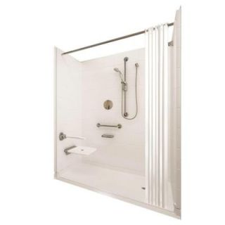 Ella Elite Brilliant 37 in. x 60 in. x 77 1/2 in. 5 piece Barrier Free Roll In Shower System in White with Right Drain 6036 BF 5P 1.0 R WH ELB